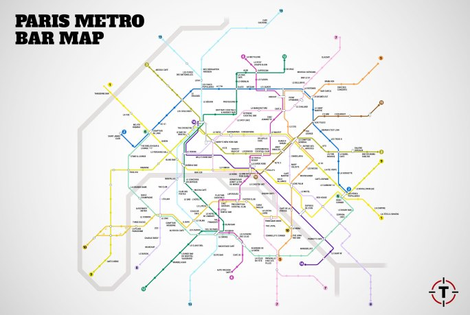 Paris Metro Bar Map | © Thrillist