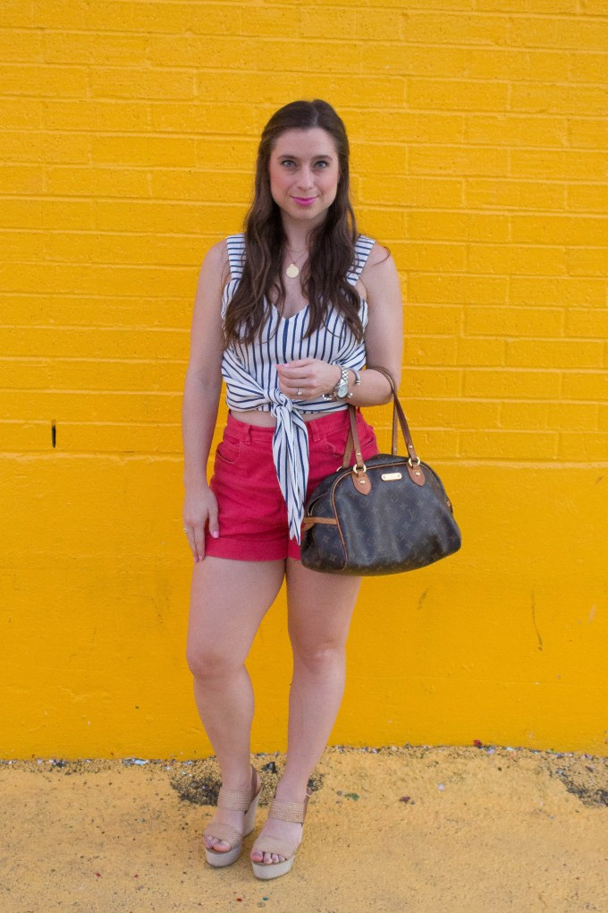 navy striped crop top, high waisted shorts, aliceincookingland.com