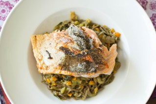Green coconut curry with salmon