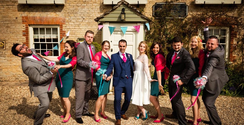 Gloucestershire wedding photographer group shot fun