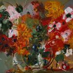 Цветы. Желтые, красные, белые80х100, холст, масло, 2010