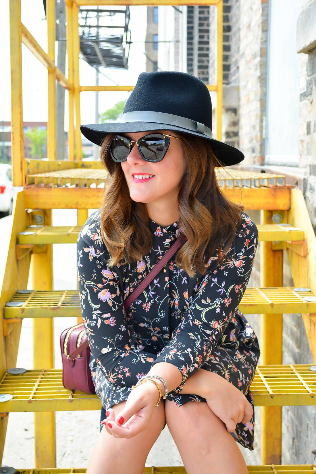 Fall Fashion Trends, Fall Must Haves, Sole Society Lace-Up Heels, Miu Miu Sunglasses, Sole Society Black Fedora, JustFab floral dress, Oxblood Tory Burch Cross Body Bag, Chicago Fashion Blogger