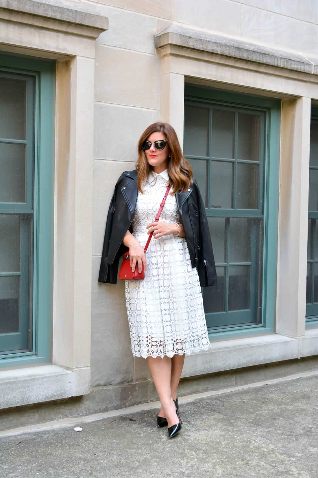 white lace dress, kate spade black patent leather heels, black leather jacket. fall style, chicago blogger, miu miu sunglasses, leather and lace