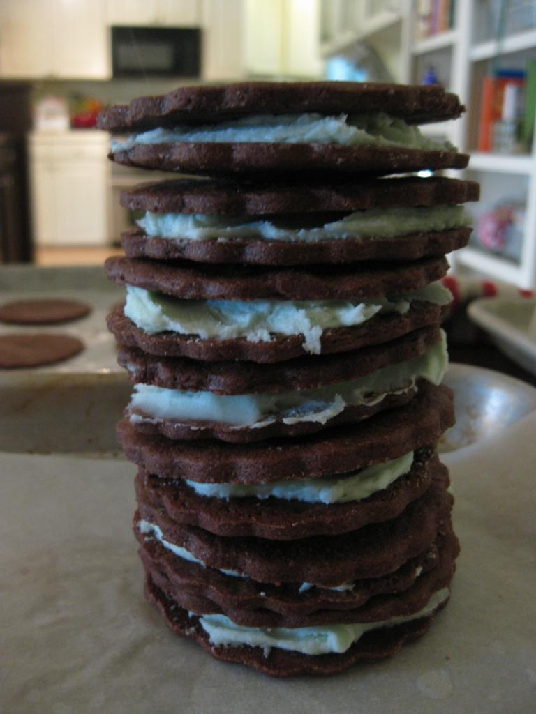 chocolate mint creme cookies 5