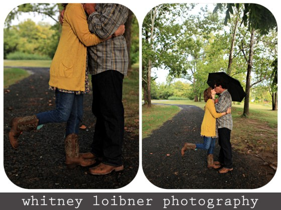 sweet couple in the rain, baby boomers, cowboy boots on fifty somethings, cowboy boots on sixty something couple, umbrella, rainy day love, yellow and jeans and boots