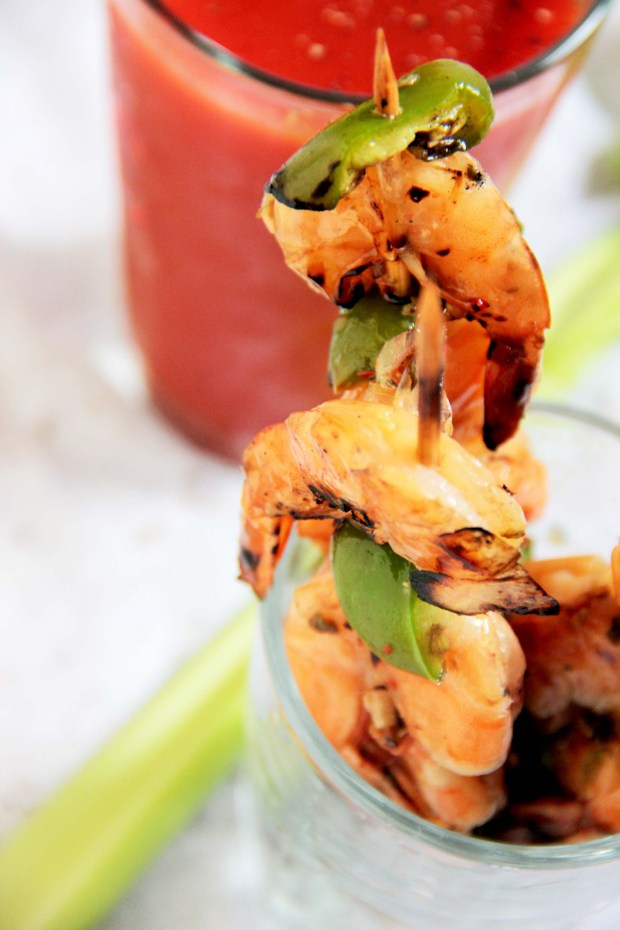 Oregano Infused Bloody Mary & Lemon Pepper Grilled Shrimp