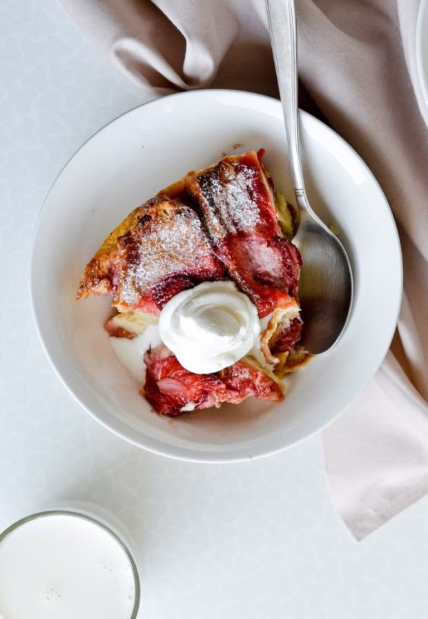 Strawberry Challah Bread Pudding