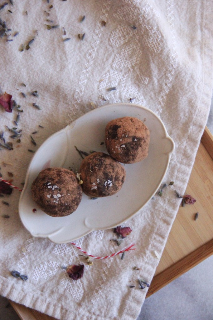 Rich dark chocolate truffles infused with dried lavender for a sweet and slightly savory dessert!