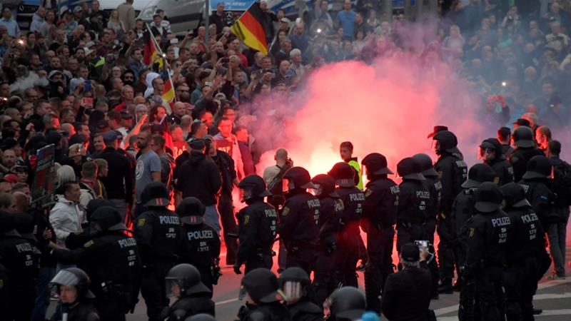 Far right  anti fascists clash in east German town of Chemnitz   Far     Germany has witnessed a surge in far right activism since the start of the  refugee