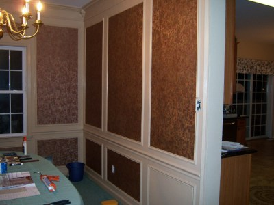 Dining Room Design Accents: Wallpaper within Shadow Boxes - All About The House