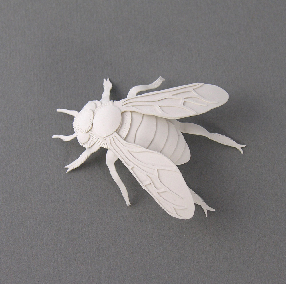 Miniature Bee. Paper Sculpture by Elsa Mora