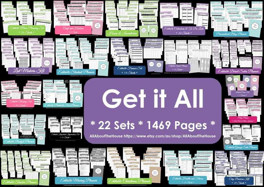 Get It All printable planner chevron instant download 21 sets 1247 pages pdf some editable multicoloured household binder-min
