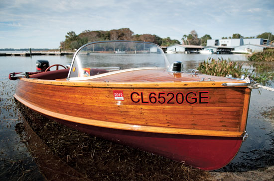 A beautiful wooden hulled Penn Yan at rest on Lake Dora, Fla., home to the Sunnyland Antique and Classic Boat Festival and the Tavares CRA Spring Thunder Regatta. Photo By Glenn Hayes