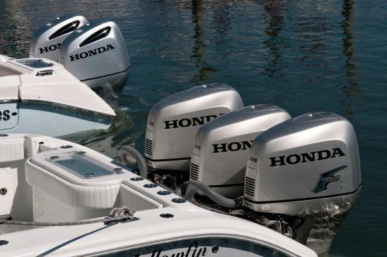 Honda's new outboard boat motor. The air vents in the new 250 can be seen on the motors at the back of the image
