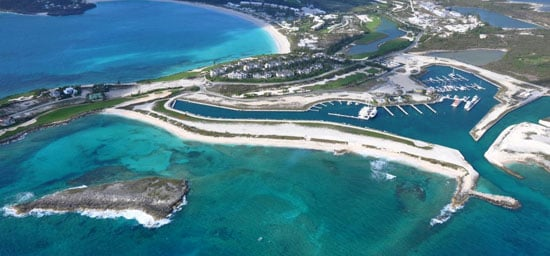 """WHAT WE LOOK LIKE FROM UP THERE-This breathtaking photo of the Marina at Emerald Bay was taken in middle May by our good friend Todd Turrell, pilot, professional engineer, marine and environmental consultant, plus mapmaker extraordinaire. The offshore island is known as """"Poor Betty Cay""""."""
