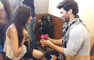 A fan goes down on her knees and proposes Aditya