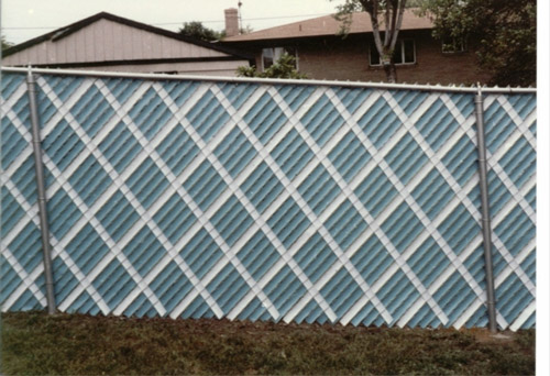Interesting Chain Link Fence Slats Aluminum Green Blue And Intended Decor