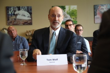Gov. Tom Wolf discussed the Shell ethane cracker with Beaver County officials . Photo: Reid R. Frazier