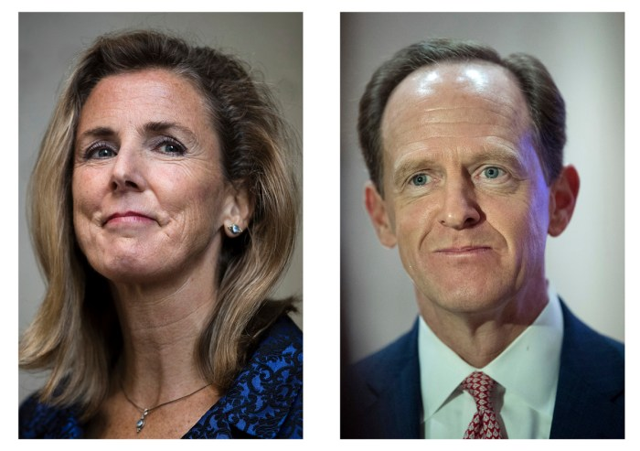 FILE - In this combination of photos shows Pennsylvania U.S. Senate candidates Democrat Katie McGinty, left, in Philadelphia, and Republican Sen. Pat Toomey, R-Pa., on Tuesday, Oct. 11, 2016, in Villanova, Pa. (AP Photo/Matt Rourke, File)