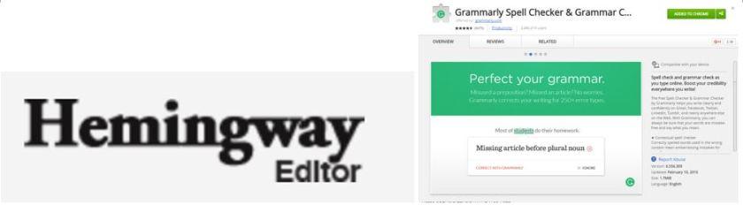 Hemingway App Editor, Grammarly, Proofreading Editor