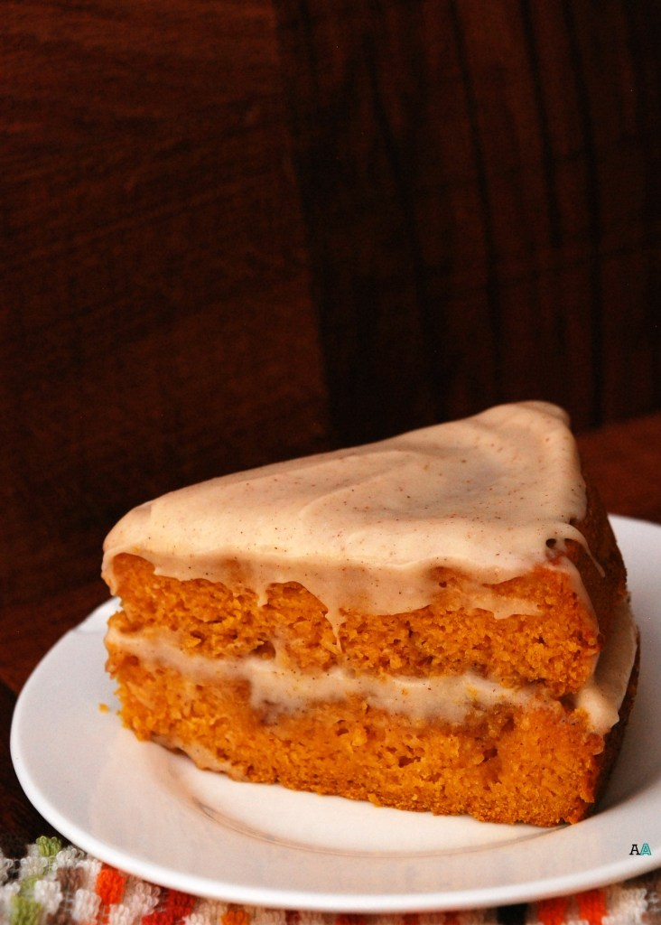 Pumpkin Cinna-Swirl Cake with Spiced Maple Cream Cheese Frosting
