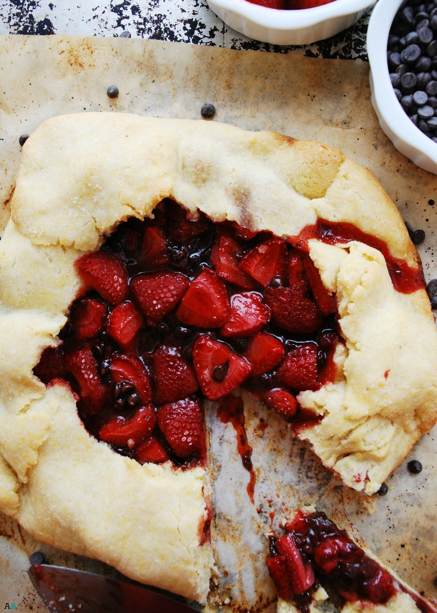 Strawberry Chocolate Galette (Gluten, dairy, egg, soy, peanut and tree nut free; top 8 free; vegan)
