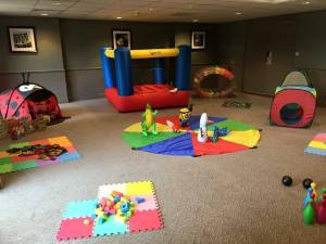Room full of toys set up for mobile creche