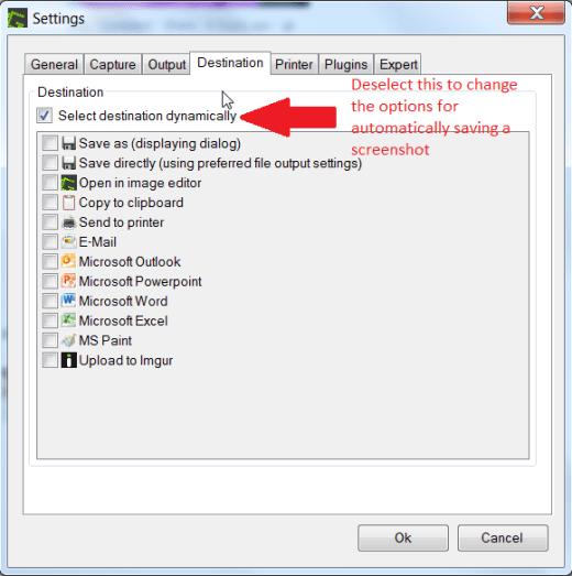 Make Greenshot automatically Save Screenshots