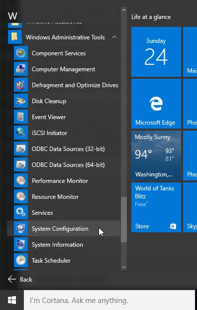 Windows 10 boot configuration options