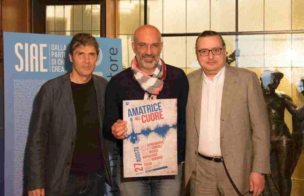 Luca Barbarossa, Sergio Pirozzi, Sindaco di Amatrice e Gaetano Blandini, Direttore Generale di SIAE