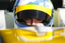 Matteo Ferrer looks through his open visor as he waits to qualify, Snetterton F4 2013