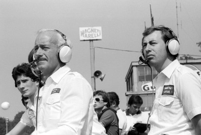 (L to R): Colin Chapman (GBR) Lotus Team Owner with Peter Collins (AUS) Lotus Team Manager. Formula One World Championship, Italian Grand Prix, Rd 13, Monza, Italy, 9 September 1979.