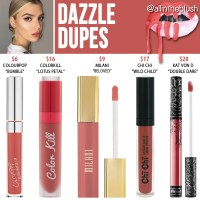 Kylie Cosmetics Dazzle Lipstick Dupes