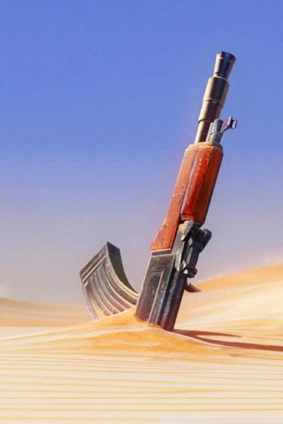 Gun in Sand iPhone Wallpaper HD