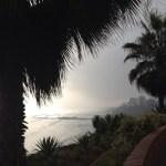 A foggy view of the coast of Lima, Peru.