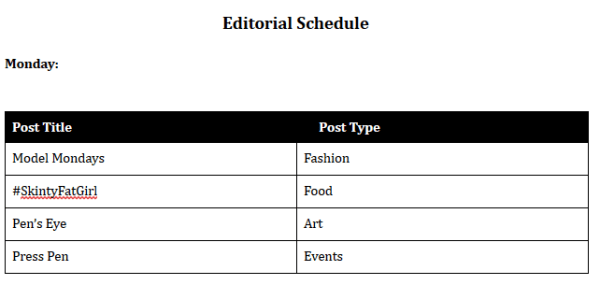 de la Pen...All Pen Everything Editorial Schedule (Created by The InkSpot)