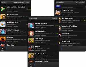 BlackBerry 10 - game apps screen - all that nerdy stuff