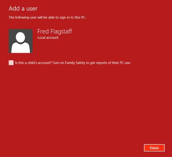 Add user in Windows 8 - step 5 - all that nerdy stuff