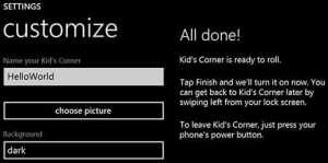 Kid's Corner Set-Up Screen for Windows 8 Phones - all that nerdy stuff