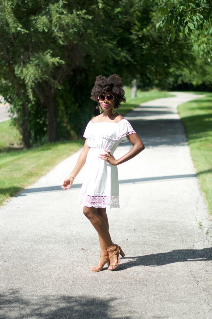 white-off-the-shoulder-lace-trim-cinched-waist-dress