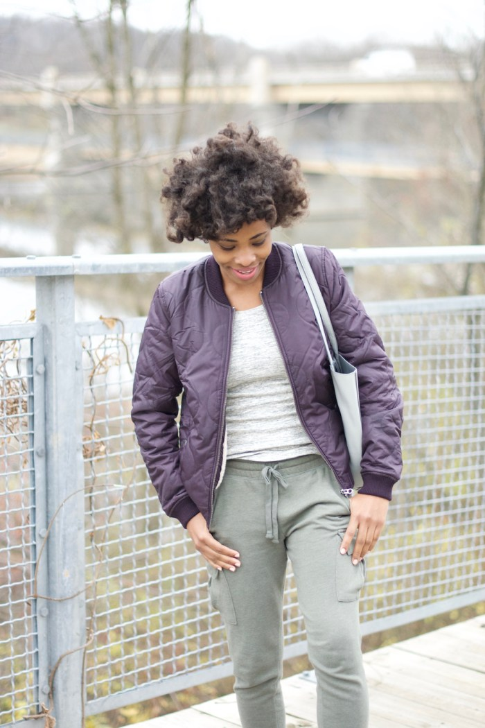 purple-quilted-bomber-jacket-olive-green-cargo-joggers