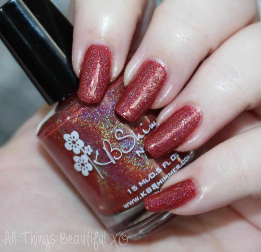 KBShimmer Men are from Mars-ala Swatches & Review from All Things Beautiful XO #nails #holo #pantone #marsala