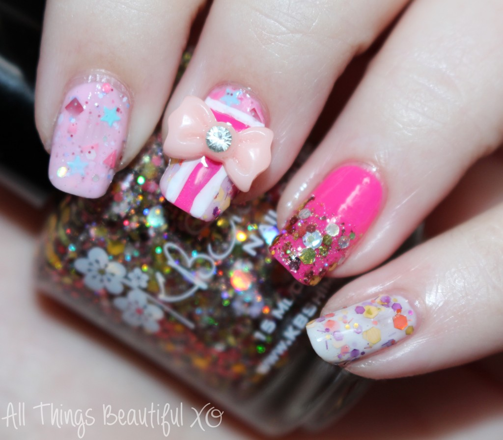 Easy Valentine's Day Nail Art Wrapped With A Bow Featuring