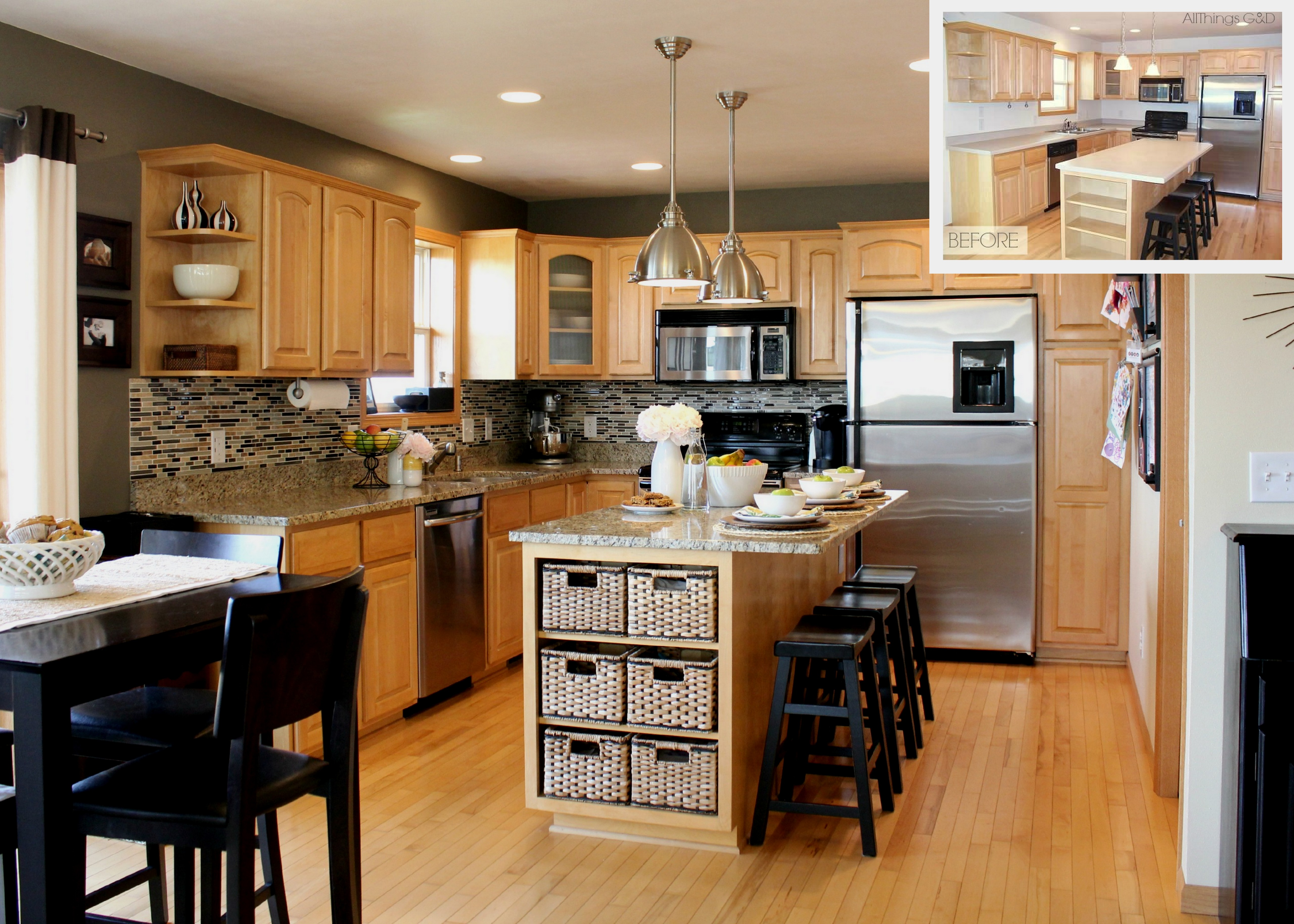 going gray gray kitchen kitchens with maple cabinets gray kitchen Sherwin Williams Anonymous paint color DIY tile backsplash maple kitchen cabinets