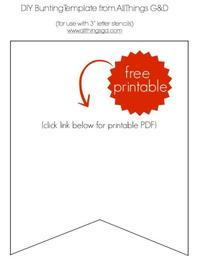 """DIY Bunting Template (for use with 3"""" letters) - print, cut, and create!   www.allthingsgd.com"""