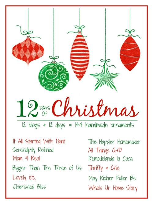 12 Bloggers + 12 Days = 144 Handmade Christmas Ornaments.  Get inspired today!