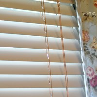 Den DIY~Painting the Wood Blinds