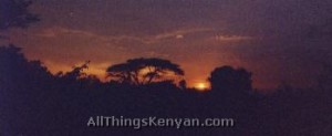 A sunset in the Kenyan village of Chamasiri.