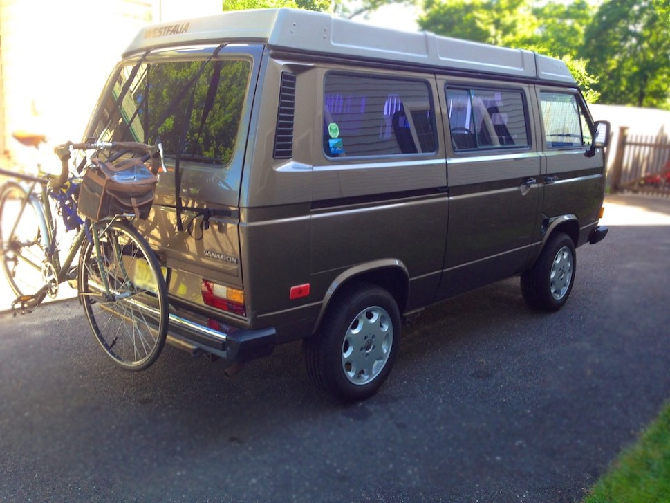 (* that's not our Xtracycle on the back of the Vanagon, but we're making due for now).
