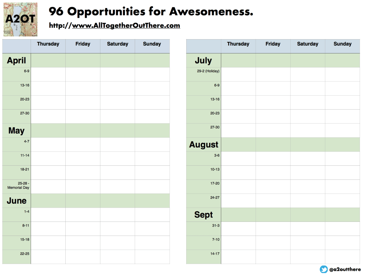 96 Days of Awesomeness - Adventure Planner